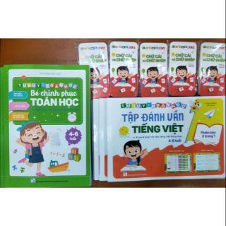 Sỉ 5 quyển Bé chinh phục toán học và 5 bộ Tập đánh vần tiếng Việt kèm thẻ