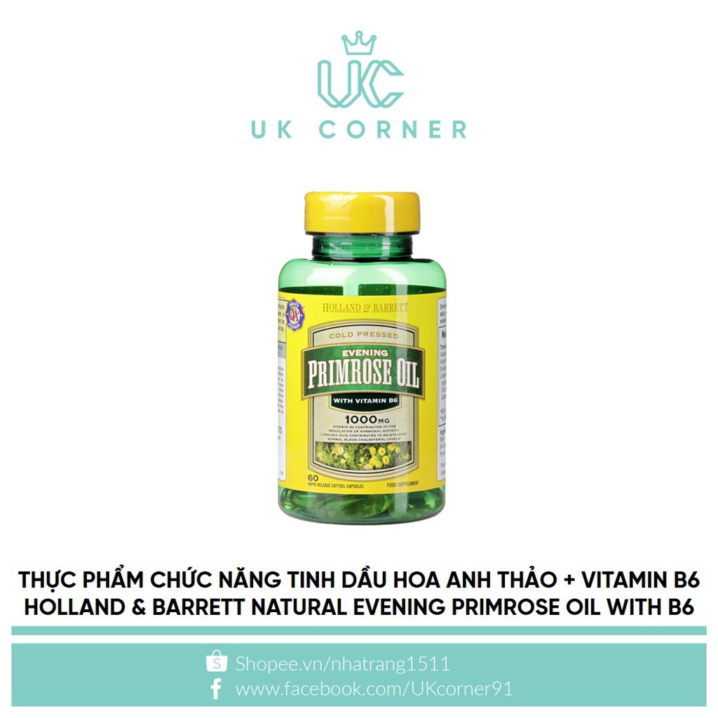 Thực phẩm chức năng Holland & Barrett natural evening primrose oil with vitamin B6 60 capsules