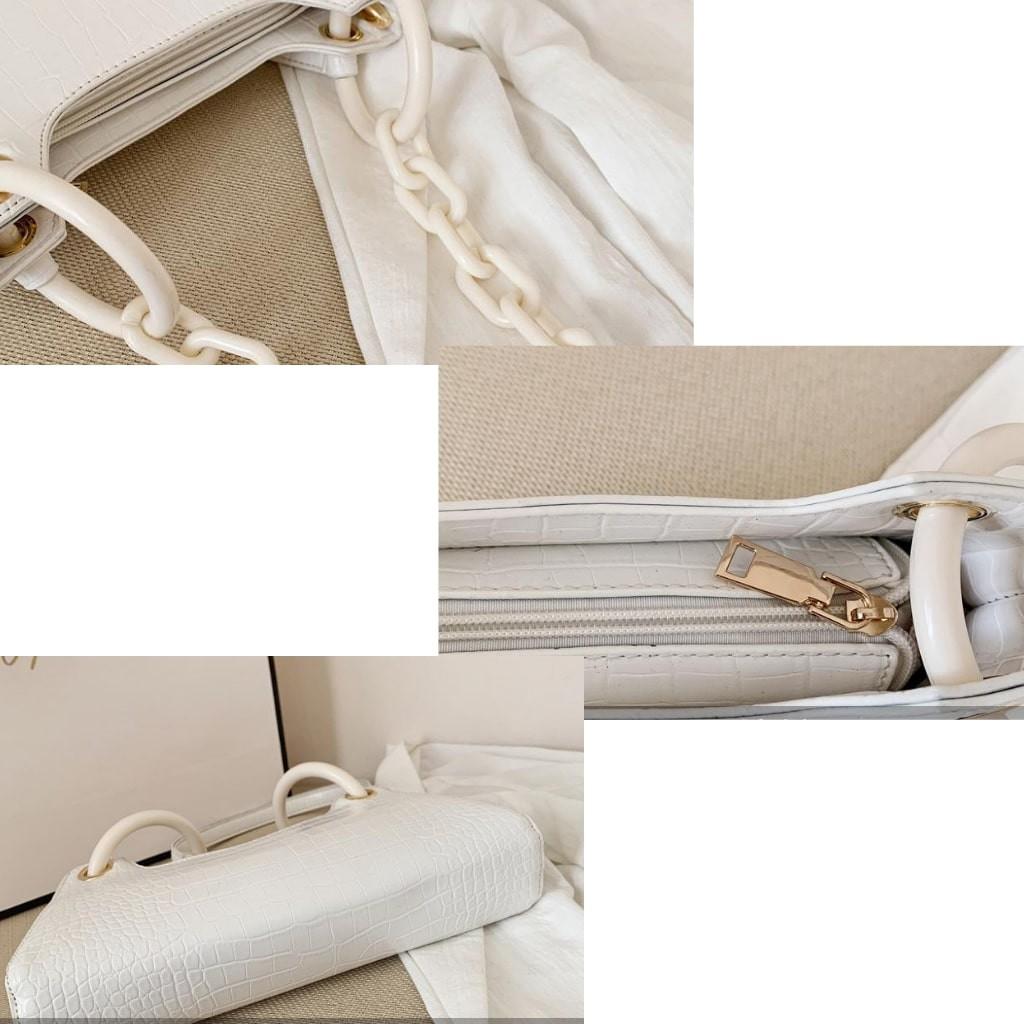 (Mẫu mới) Túi Kẹp Nách Nữ Dây Xích Nhựa Hottrend KR 280- Da PU cao cấp, Form Cứng, Size 28, 3 Màu lựa chọn- KARA 280