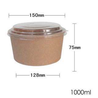 Tô Giấy Kraft Nắp Nhựa Trong PET 1000ml 750ml Đựng Bánh BLTM Bánh Mỳ Bơ Tỏi Nho Quế Salad, Bát Giấy Hộp Giấy thumbnail