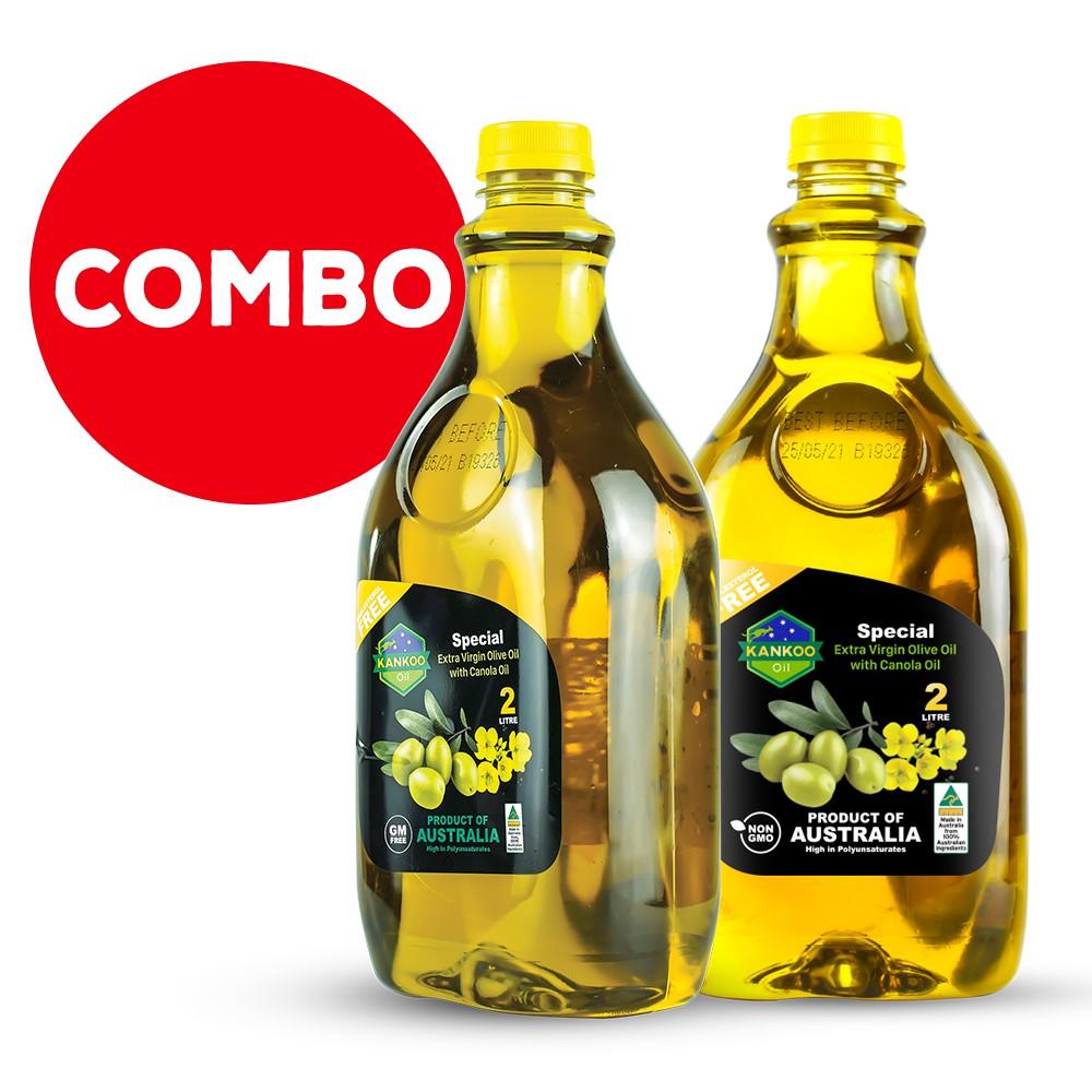 Combo 2 chai 2 lít dầu ăn Oliu hạt cải Kankoo nhập khẩu Úc chuyên chiên xào, trộn salad, nêm thức ăn dặm cho bé rất tốt