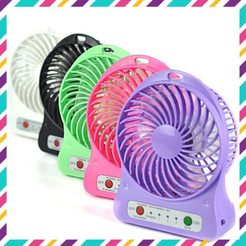 Quạt tích điện mini ⚡️HÀNG LOẠI 1⚡️ Quạt mini pin sạc cầm tay 3 chế độ có đèn pin (Giao màu ngẫu nhiên)