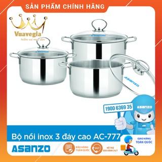 Bộ Nồi Inox 304 3 Đáy Cao Cấp Asanzo AC777 (Inox 3 đáy, Size: 16-20-24, Nắp Kính Cường Lực Chịu Nhiệt) – Hàng Chính Hãng