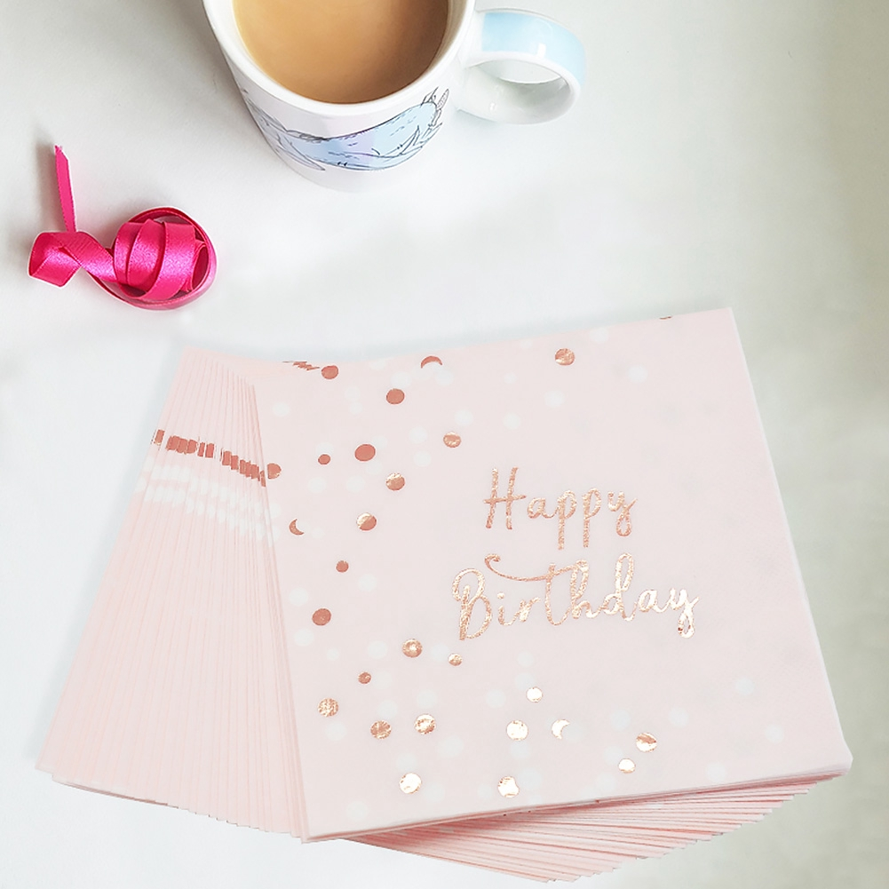 Tableware Happy Birthday Eco-friendly Disposable Accessories Pink Decoration Soft Portable Square Party Supplies Napkin