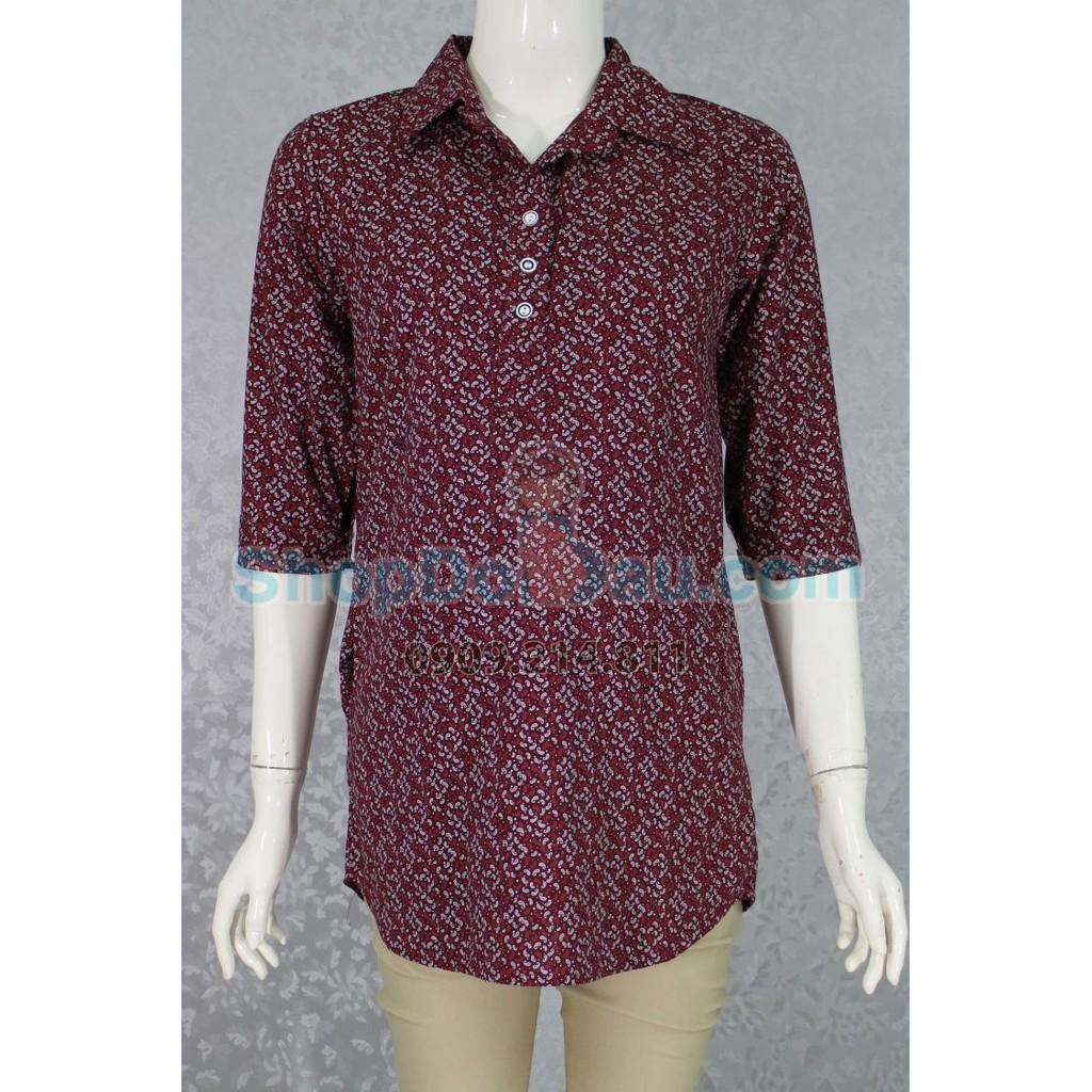 Áo bầu cổ sơ mi - form dài - không dây - tay lỡ - vải mát đẹp (Mã số: AB1520)
