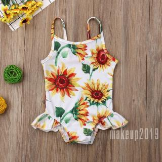 Mu♫-US Infant Kids Baby Girls SunFlower Swimwear Romper Sling Bathing Beach Clothes