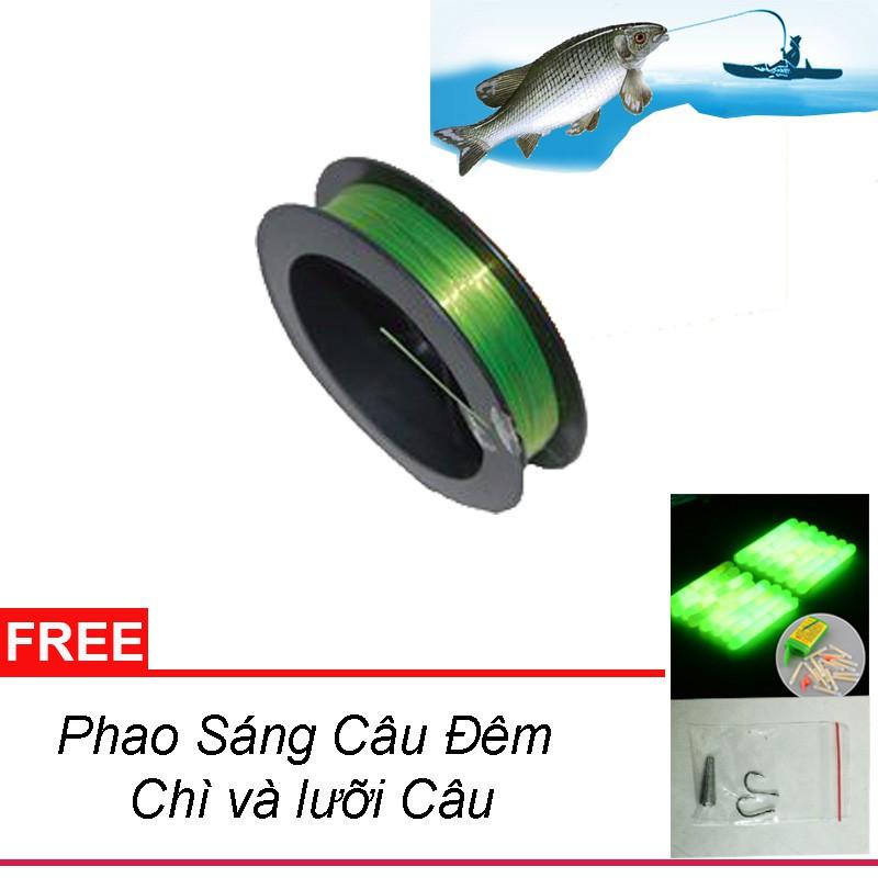 Dây cước câu cá 100m x 0.45mm - tặng phao sáng,chìvà lưỡicâu