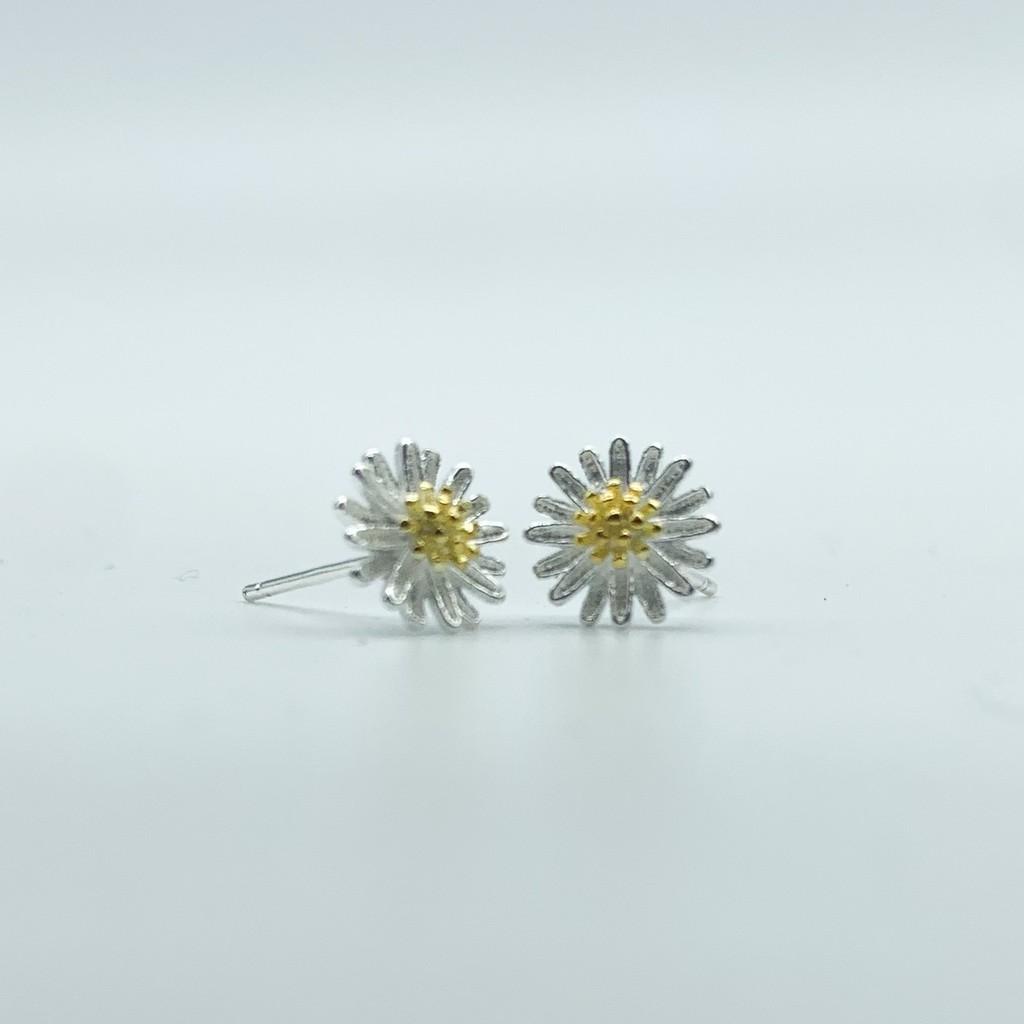 Bông tai bạc nữ, khuyên tai bạc nữ đẹp giá rẻ hình hoa cúc họa mi BT0061