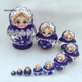 Bộ 10 búp bê Matryoshka bằng gỗ handmade của Nga dùng để trang trí trong nhà thumbnail