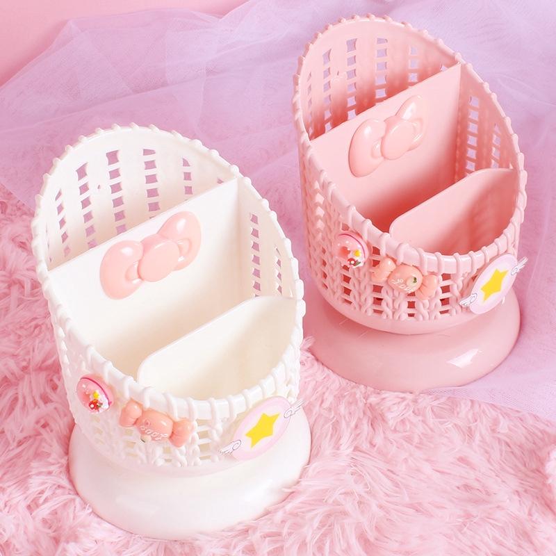Girl's Heart Pink Place Frame Penholder Creative Fashion Lovely Student Desktop