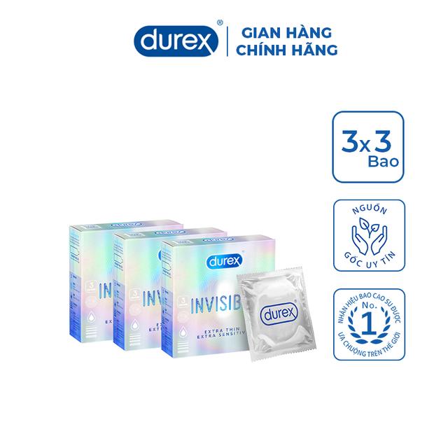 Bộ 3 bao cao su Durex Invisible 3 bao