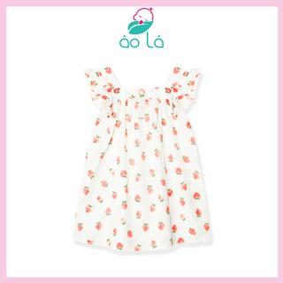 Váy cánh tiên bé gái vải đũi lạnh Áo Lá Homewear họa tiết hoa xinh xắn