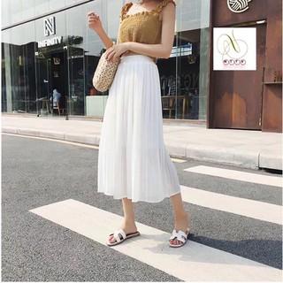 Chân váy xếp ly dáng dài