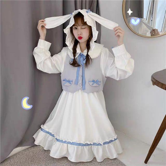 Váy baby doll tiểu thư đính tai thỏ TT622