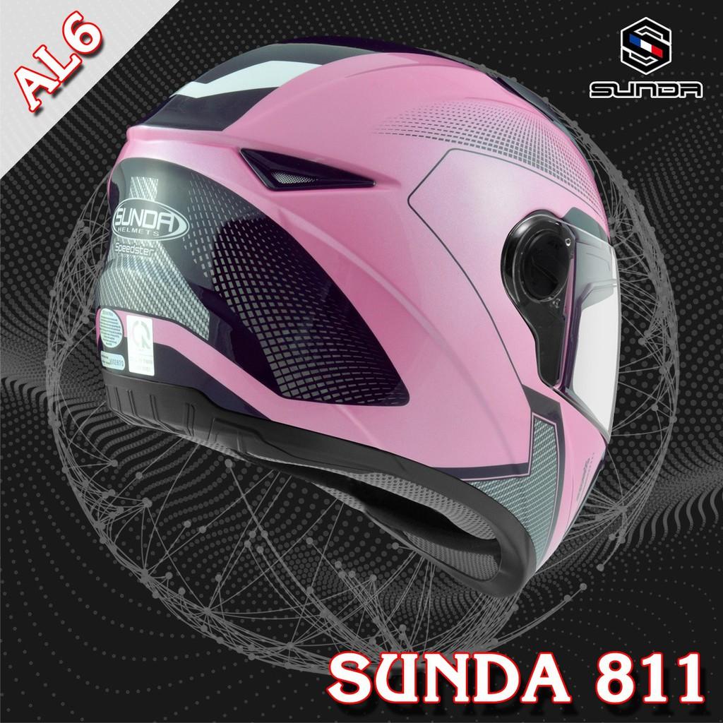 Mũ bảo hiểm SUNDA 811 tem AL6 hồng