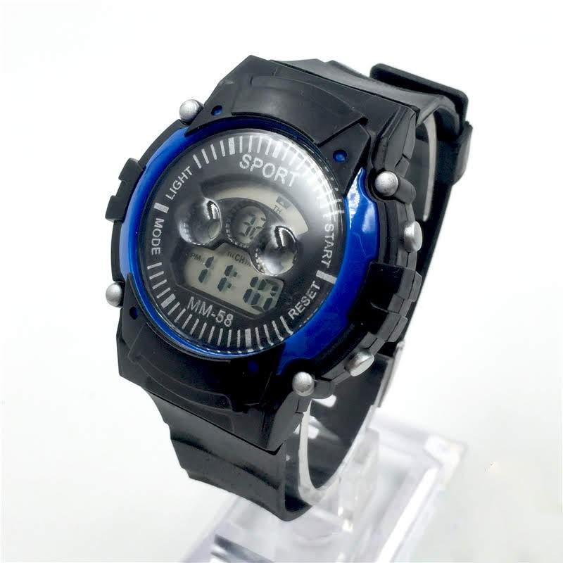 [Giá sỉ - Có clip thật] - Đồng hồ điện tử trẻ em MM-58 Blue - Đồng hồ thể thao chống nước màu xanh
