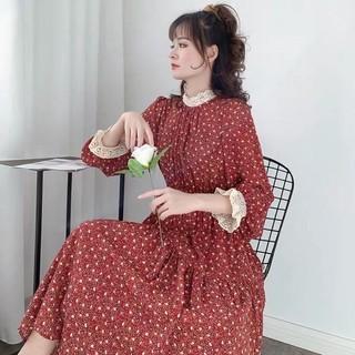 Váy bầu thiết kế dài tay chất lụa hoa nhí AM320 size 45-70kg