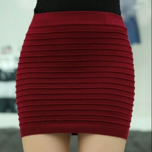 Chân váy len tăm ôm dáng ngắn