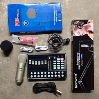 combo thu âm livestream isk AT100-sound card H9 chân kẹp+màng lọc bảo hành 6 tháng