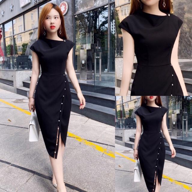 Váy body V836 đen - Đẹp Shop DVC (Kèm ảnh thật trải sàn do shop tự chụp)
