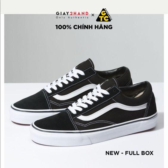 (AUTHENTIC 100%) Giày Sneaker Thể Thao Unisex VANS OLD SKOOL CLASSIC BLACK/WHITE - Ship US Full Box Chính Hãng 100%