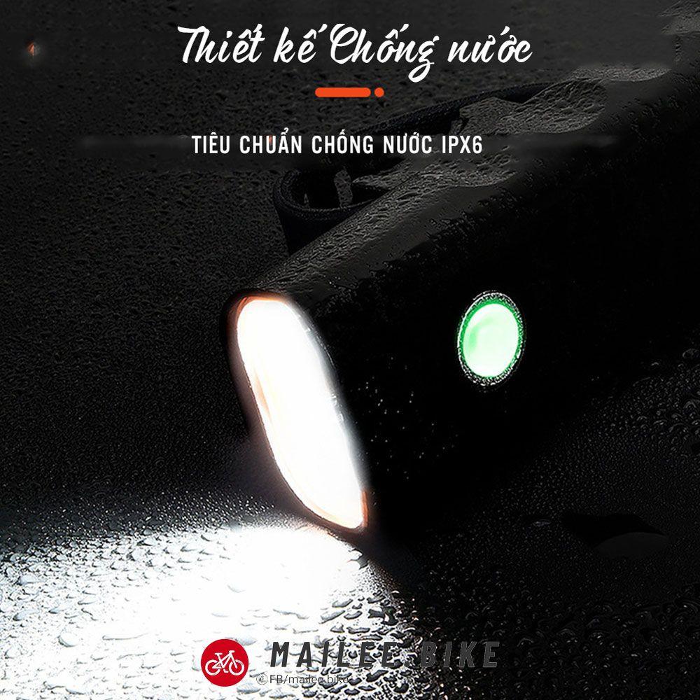Đèn Pha Xe Đạp Sạc Điện USB Chống Nước 3 Chế Độ Sáng Chất Liệu Nhôm Đèn LED Gắn Ghi Đông Xe Đạp Siêu Sáng