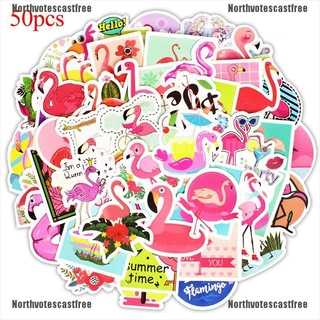 [NVC Free]50 Pcs flamingos sticker cute anime decal stickers for children laptop suitcase