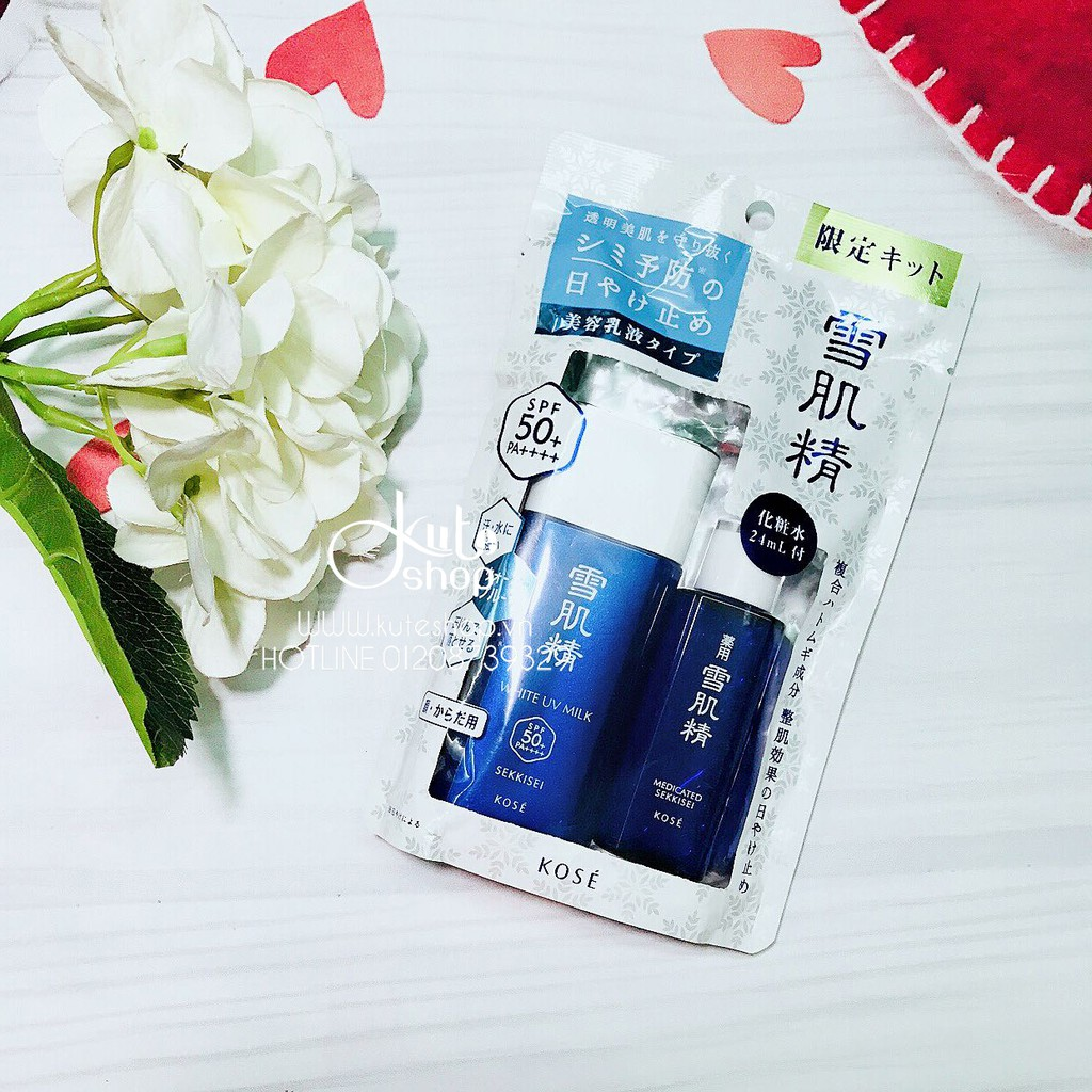 Sữa chống nắng Kose Sekkisei White UV Milk SPF50+ PA ++++ 60g kèm gift (lotion 24ml)