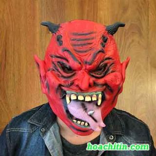 Mặt nạ da quỷ đỏ sừng ngắn lè lưỡi Ma Quỷ Kinh Dị Halloween