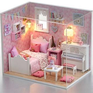 Nhà Búp Bê DIY – Cute Room H015 ( Kèm mica + keo )