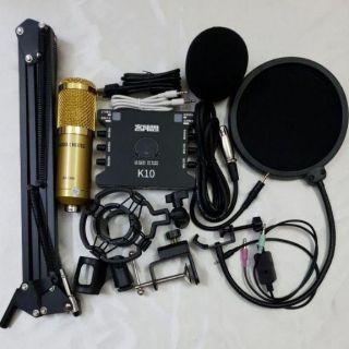 Combo hát livestream thu âm mic BM900 và sound card k10, chân kẹp, màng lọc, dây live ma2