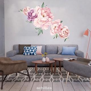 Art DIY Decorative Home PVC Peony Flower Removable Self Adhesive Wall Sticker