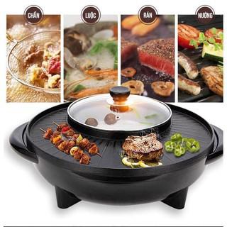 [Có Sẵn]Bếp lẩu nướng kèm nồi lẩu tròn⚡ Đa Năng ⚡ Nồi lẩu nướng điện 2 trong 1 tiết kiệm điện năng