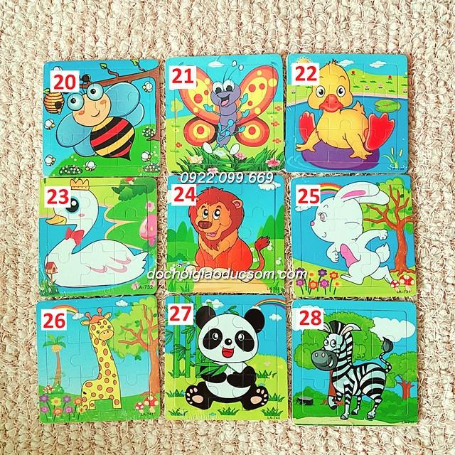 Ghép hình puzzle 9 miếng (9 mảnh) gỗ - Hình con vật từ 20 đến 28