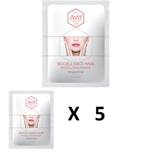Bộ 5 gói Mặt nạ Avif Biocell giảm lão hóa (Avif Biocell Anti-age Face Mask)