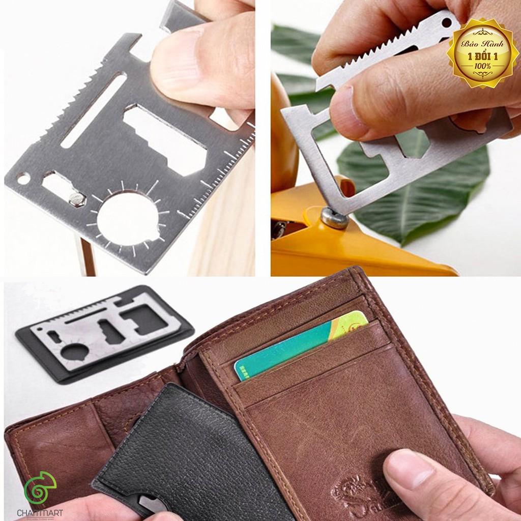 Bộ 2 miếng thép đa năng 11 công dụng thẻ phượt Steel Credit Card Survial Tool Chammart