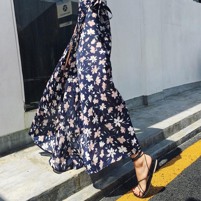 กระโปรงชีฟองพิมพ์ลายดอกไม้ สไตล์โบฮีเมียนแฟชั่น สำหรับผู้หญิง