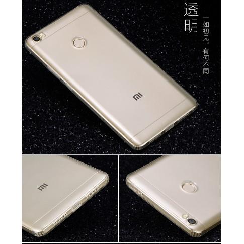 Xiaomi Mi Max - Ốp silicon trong suốt có nút đậy ôm sát máy
