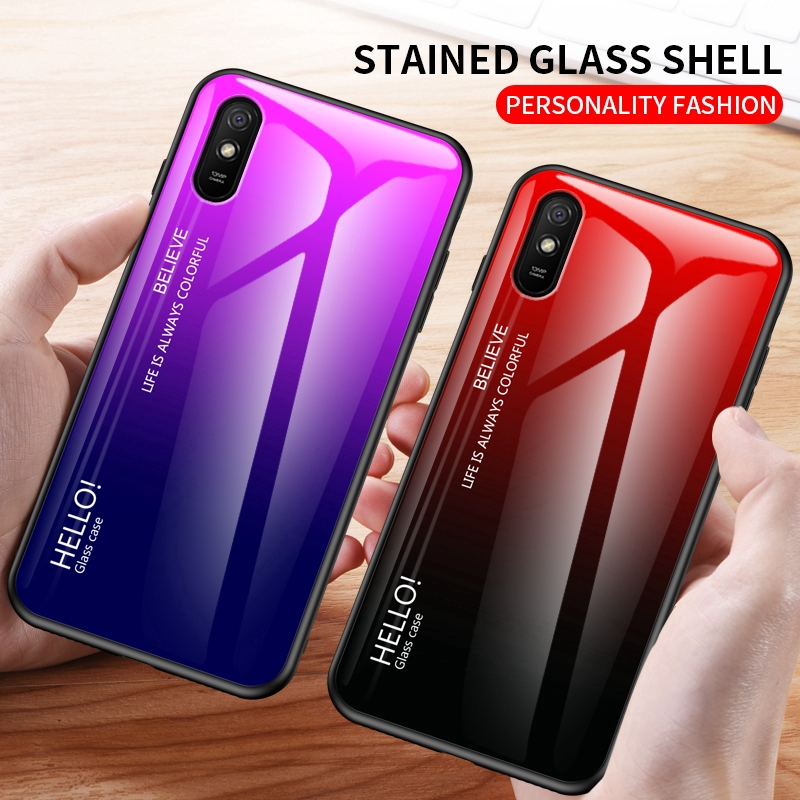 Xiaomi Redmi 9A Case【Gradient Tempered Glass Back】Hybrid Thin Shockproof Cover Case