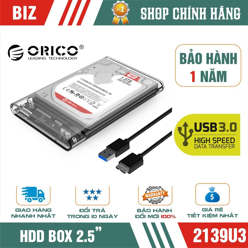 BOX ổ cứng BOX HDD 2.5″ ORICO 2139U3 USB 3.0 (trong suốt) Giá chỉ 105.000₫