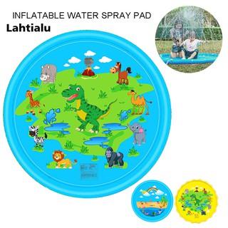 Lahtialu Kids Outdoor Inflatable Dinosaur Rainbow Sprinkle Splash Mat Water Play Pad Toy
