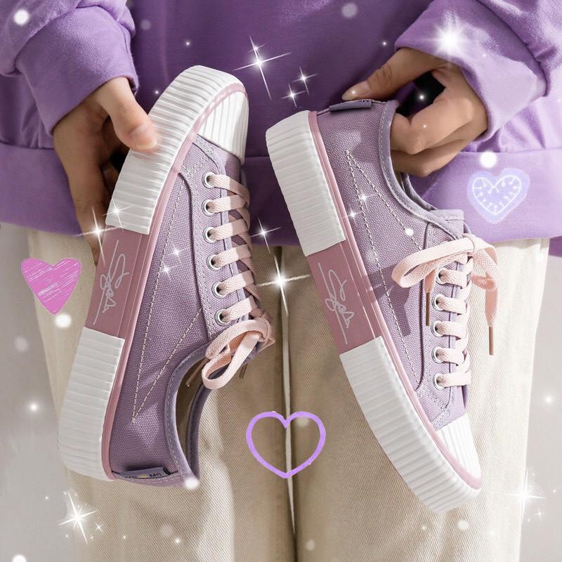 (Video thật) Giày thể thao nữ dáng cơ bản 3 màu siêu trend chữ ký Jinai