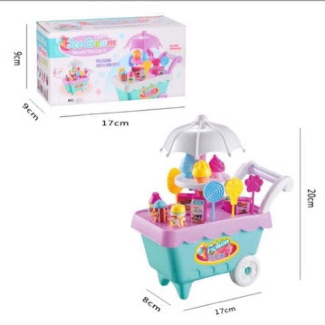 Đồ chơi XE ĐẨY BÁN KEM mini có đèn nhạc gồm 19 chi tiết cho bé