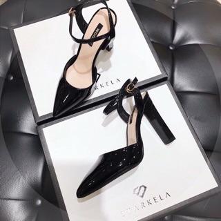 Giày cao gót I Sandal cao gót da bóng mũi nhọn gót vuông thanh 8p xuất Hàn cực đẹp