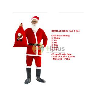 Quần Áo Ông Già Noel (Nhung) + Túi đựng quà Noel (Nỉ)