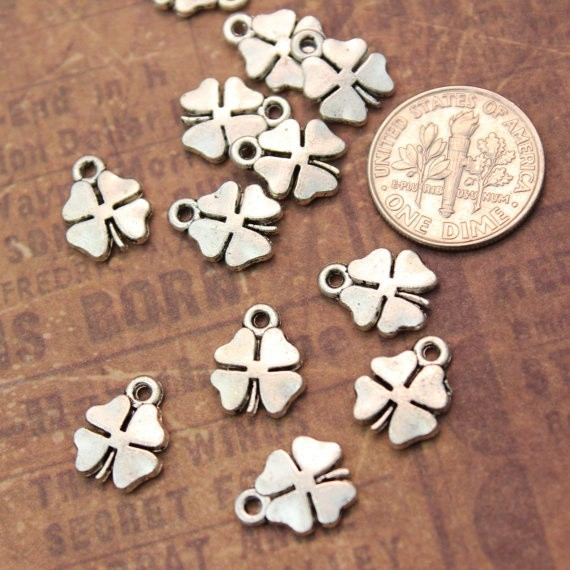 Tiny Four Leaf Charms Pendants DIY Handmade Accessories Craft Jewelry Decoration