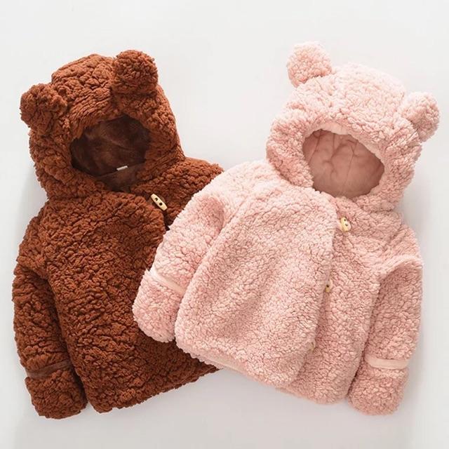 Áo lông cừu tai gấu cao cấp