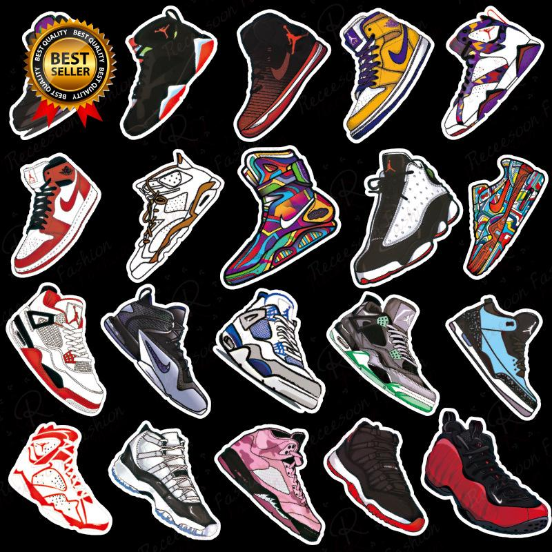 Set 96 nhãn dán hình giày thể thao sáng tạo cho vali ván tượt thumbnail