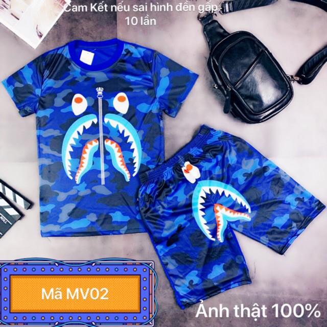 Bộ nam hè in 3D Cá Mập Xanh mã MV02 ( ảnh video thật ) . . - Bộ hè