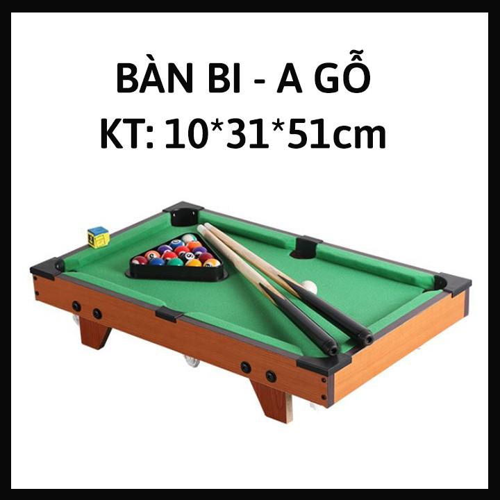 Bida Mini bằng Gỗ - Mặt bàn Vải Nỉ - 15 bi đánh số + 2 Gậy + 1 Tẩy - Kích thước 51*31*10cm